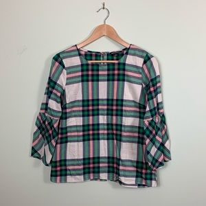 J Crew Mercantile Plaid Flannel Bell Sleeve Top